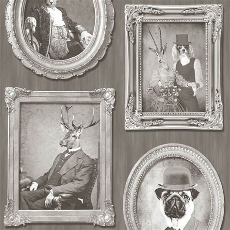 Animal Frame Wallpaper - muriva animals in frames dogs stags tiger photo motif