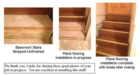 stair treads self adhesive vinyl floor planks on staircase installation