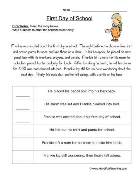 Sequence Of Events Worksheets Homeschooldressagecom