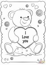 Coloring Card Valentine Pages Printable Cards Valentines St Drawing sketch template