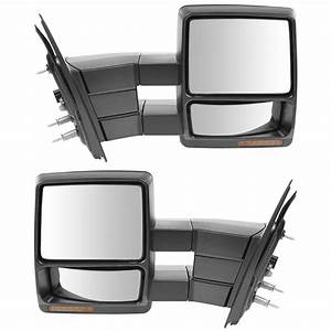 Tow Mirror Power Heated Signal Smooth Black Chrome Pair