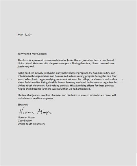 sample recommendation letter format  documents
