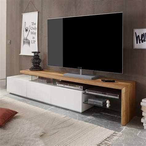 tv board sydney in wei 223 mit eiche massivholz pharao24 de - Tv Board Eiche