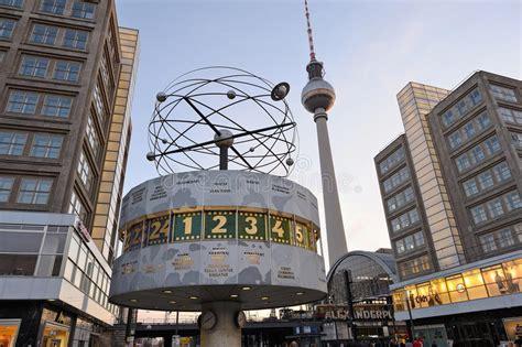 world clock  alexanderplatz  berlin germany editorial
