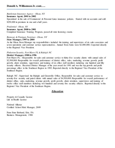 Resume For Commercial Insurance by Donald A Williamson Jr Resume Updated Insurance