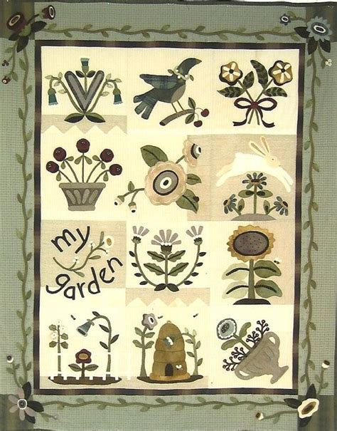 primitive folk art wool applique pattern  garden quilt