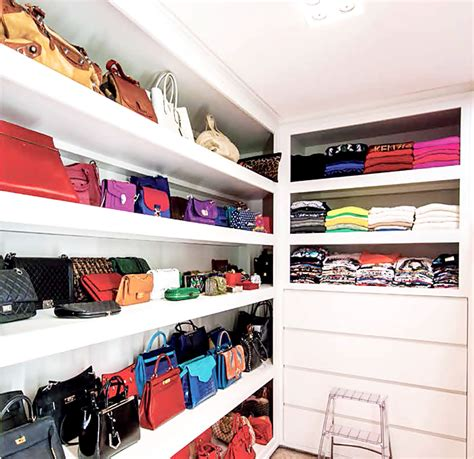 Luxury Closet Handbags by Floating Closet Shelves Design Ideas