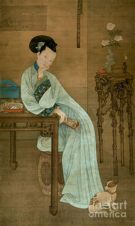 reading lady painting  leng mei   qing dynasty