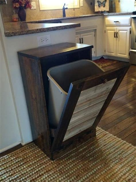 kitchen trash can ideas diy wooden pallet trash can holder ideas with pallets