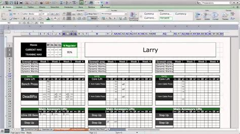 strength conditioning excel template level  youtube