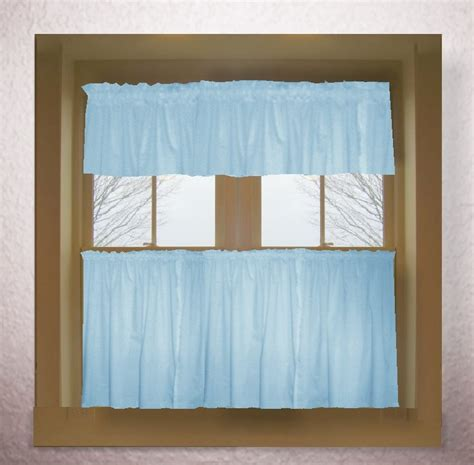 light baby blue color tier kitchen curtain  panel set