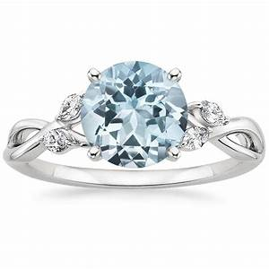 Aquamarine willow diamond ring 1 8 ct tw in 18k white gold for Wedding rings aquamarine