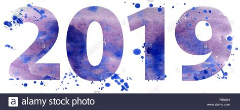 New Year 2019 Watercolor Number Isolated On The White