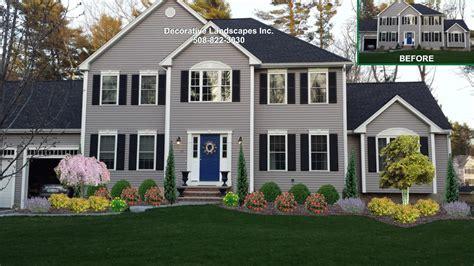 colonial house landscaping front yard landscape design madecorative landscapes inc