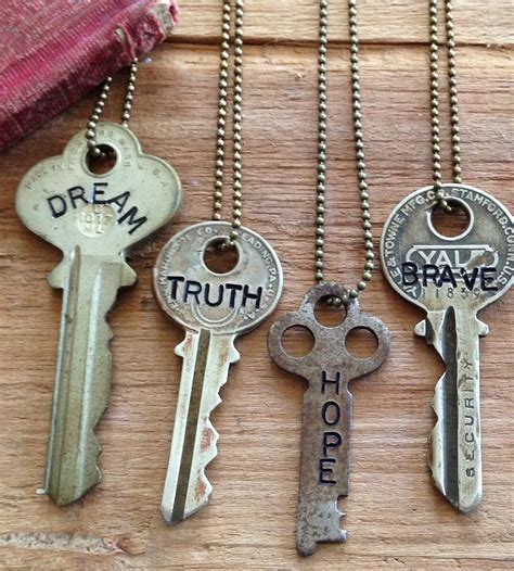 inspirational word stamped vintage key necklace jewelry