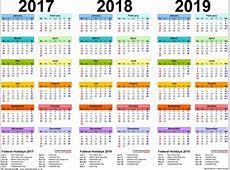 Multiple Year Calendar To Print 2016,2017,2018 Free