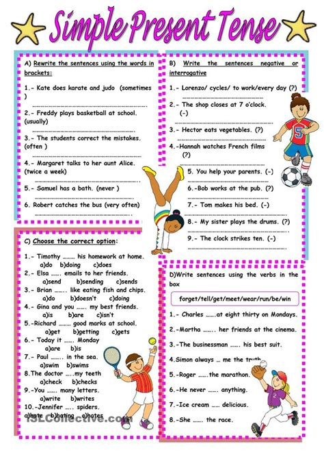Simple Present Tense Exercises For Class 7  1000 Images About Present Simple On Pinterest Tense