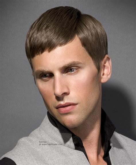 Traditional men's haircut with rounded cutting lines and a