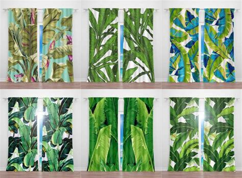 Tropical Curtains Banana Leaf Curtains Palm Leaf Fabric Outdoor Curtains Sunbrella Lowes Curtain Tie Back Hooks Red Beaded Door To Go Over Vertical Blinds Diy From Flat Sheets Custom Size Panels Standard Lengths In Cm Bendable Track For Straight Bay Window Rail