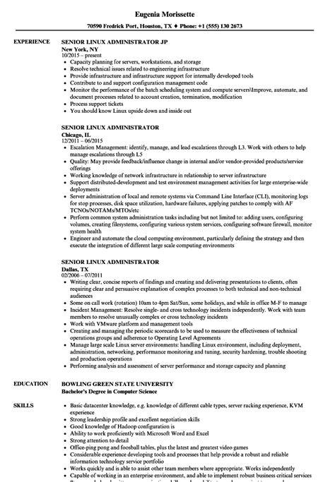senior linux administrator resume samples velvet jobs