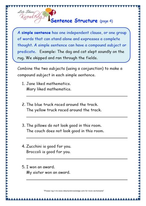 grade 3 grammar topic 36 sentence structure worksheets lets share knowledge