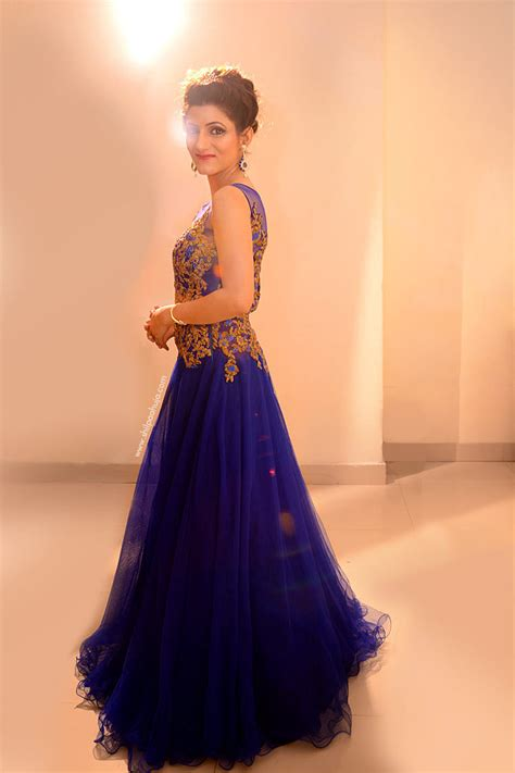 Indian Engagement Gown   Blue Dress & Bridal Hairstyle