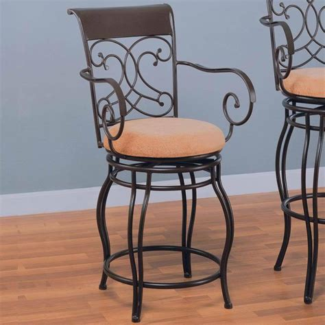 Armchair Bar Stools by Brown Metal Swivel Counter Height Stool Chair By