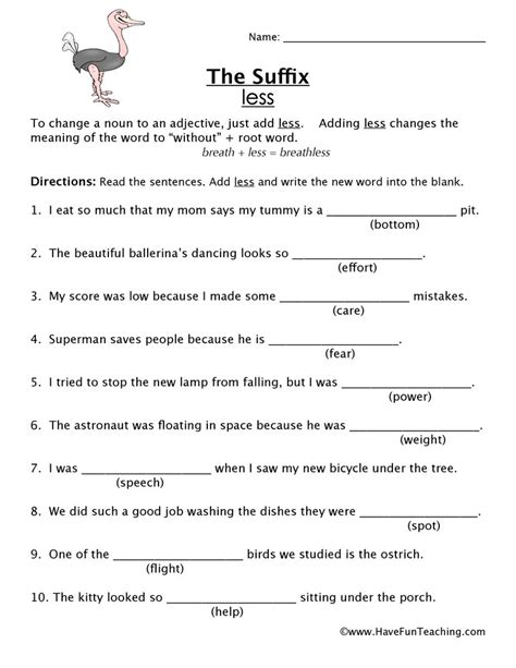 suffix  worksheet  fun teaching