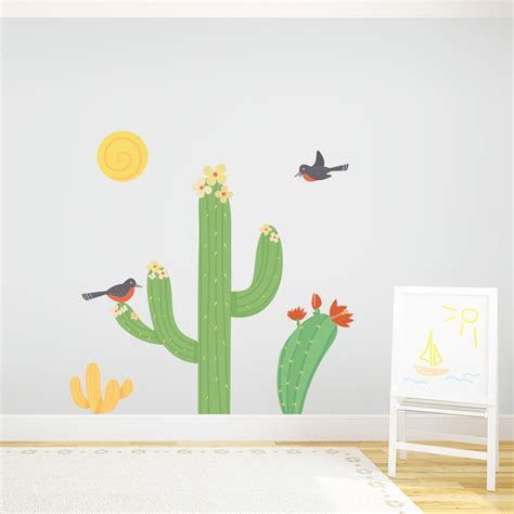 cactus  birds wall stickers desert wall decal