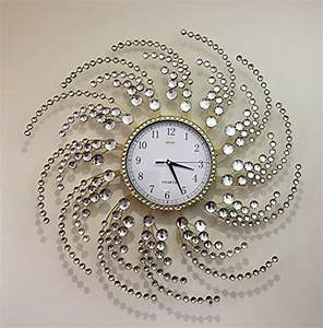 Wall, Clock, Large, Metal, Crystal, Decorative, Circle, Fancy, Cock, Designs, For, Living
