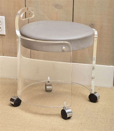 vanity chair with wheels charles hollis jones vintage lucite vanity stool on