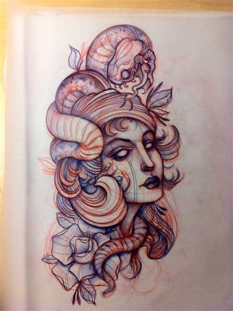 Snake Woman Tattoo Sketch  Ladys Oldschool Pinterest