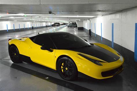 ferrari yellow matte blue and yellow ferrari 458 italia duo in paris