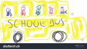 Kids Drawing Yellow School Bus Stock Illustration ...