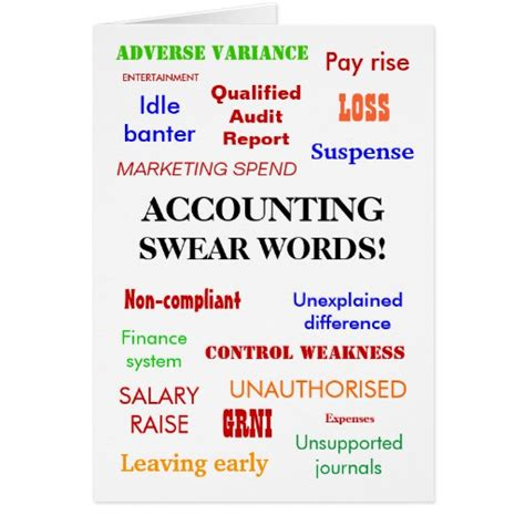 greeting card words of accounting swear words blank greeting card zazzle