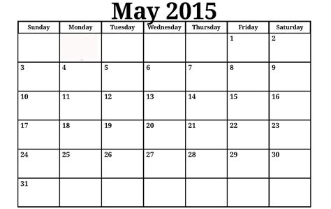 Calendar Monthly Template 2015 Costumepartyrun