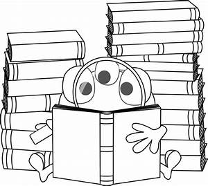 Black and White Three Eyed Monster Reading Clip Art ...