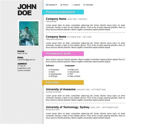 curriculum vitae web page template awesome resumecv