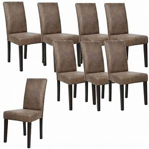 Albus lot de 8 chaises de salle a manger vintage marron for Salle À manger contemporaineavec lot chaises