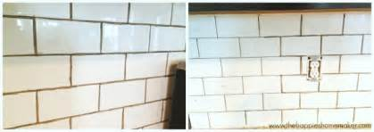 grouting kitchen backsplash changing grout color a subway tile update the happier