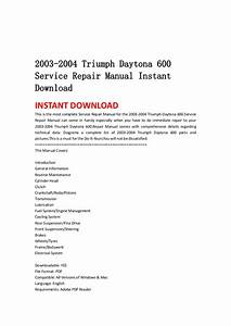 2003 2004 Triumph Daytona 600 Service Repair Manual