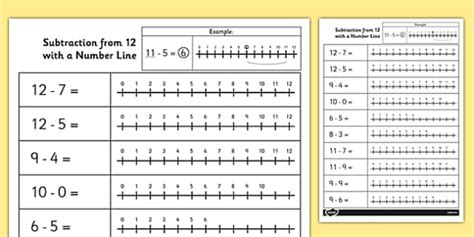 subtraction from 12 with a number line worksheet activity