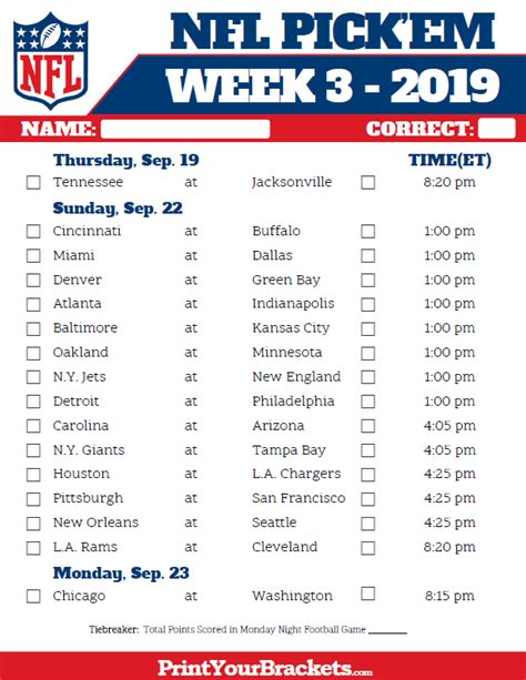 printable nfl week 3 schedule em pool 2019
