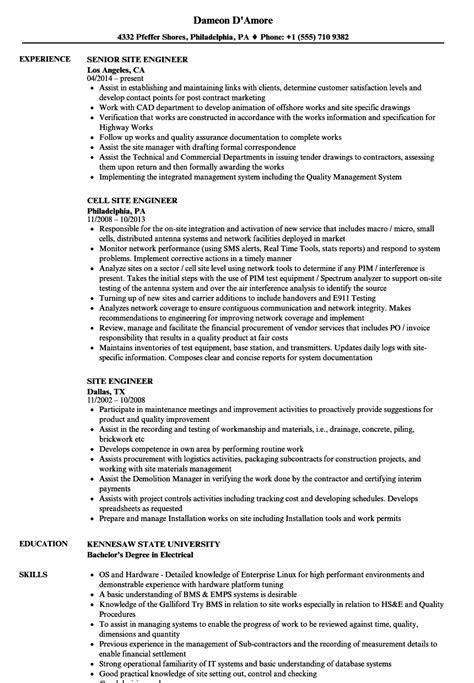 Site Engineer Resume by Site Engineer Resume Sles Velvet