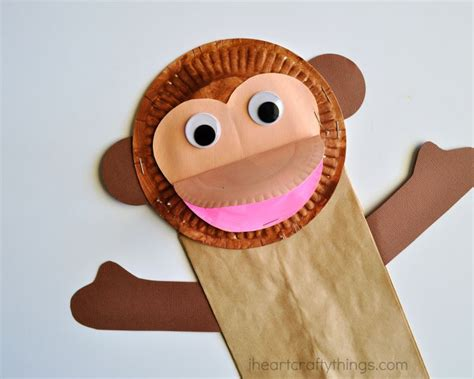paper plate monkey paper bag monkey craft for i crafty things 2637