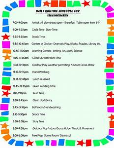 daily schedule for toddlers daily schedule for preschool With preschool classroom schedule template