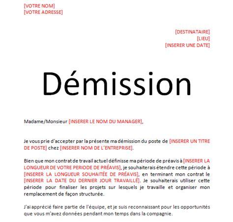 modele de lettre de demission cdd mod 232 le lettre de d 233 mission avec pr 233 avis en word doc