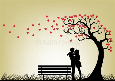 bench tree dating silhouette tree stock vector