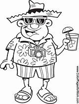 Vacation Tourist Cartoon Coloring Clipart Pages Colorpagesformom Illustration Adult Vector Holding Clip Drawings Drawing Hawaiian Illustrations Drink Mouse Printable Beach sketch template