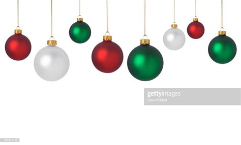 dangling red green  white christmas ornaments stock